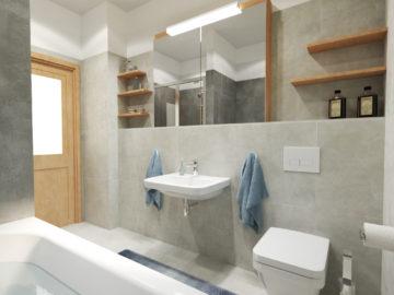Vizualizace koupelny řadový dům 2