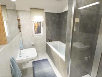 Vizualizace koupelny řadový dům